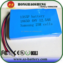 UK/ USA popular can be customize 18650 samsung 25r pack 48v 1000w li- ion battery samsung battery pack