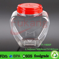 1500ml heart shape transparent candy and nut store containers wholesale