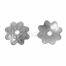 Custom Design Stainless Steel Beads Caps Flower Silver Tone Silver Tone 7.5mm x 7.0mm50 PCs