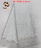 unique design white french lace single color of NL10050-8