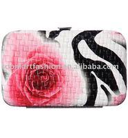 Zebra rose print ID case and ladies' wallet