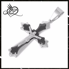Stainless Steel Budded Jet Black and Silver Finish Crucifix Cross Pendant