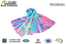 BLUE PHOENIX worsted wool digital printed ladies neck scarf for summer