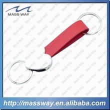 high grade metal heart shape keychain genuine red leather keyring