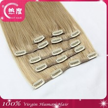 Wholesale virgin brazilian clip in hair extension 100% unprocessed silky straight clip in hair extensions for black women