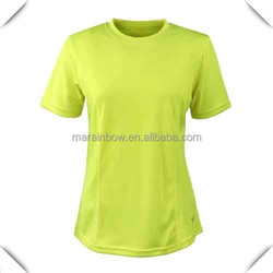 Anti-pilling 100% polyester function material Women's Short Sleeve Running T Shirt Yellow OEM