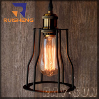 LOFT Style Restaurant Light Industrial Cage Shade Pendant Lamp