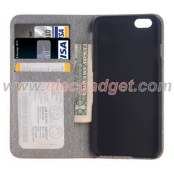 Coffee High Quality Cross Texture Leather Case with Holder & Card Slots & Wallet for iPhone 6