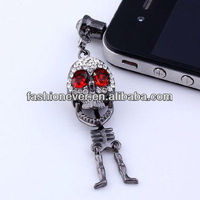 New 3.5mm Punk Crystal Skull Anti Dust Earphone Plug Stopper for Iphone 4 4s HTC