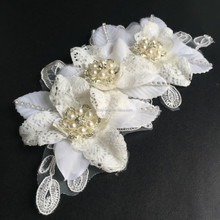America popular generous fabric flower wedding hair comb,white wedding brooch embellish decorations lace hair flower for bride
