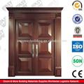 populares elegante doble de madera de la hoja de la puerta de entrada