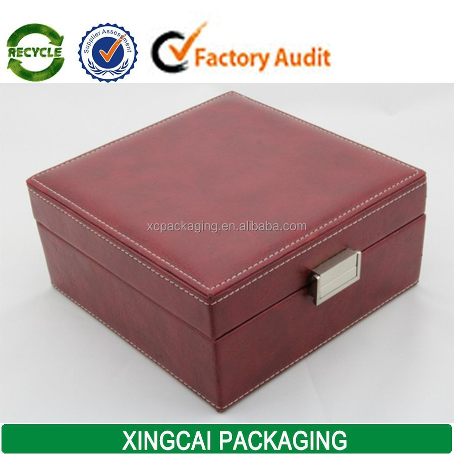 Custom leather jewelry watch box packaging with stitching for Custom jewelry packaging manufacturers
