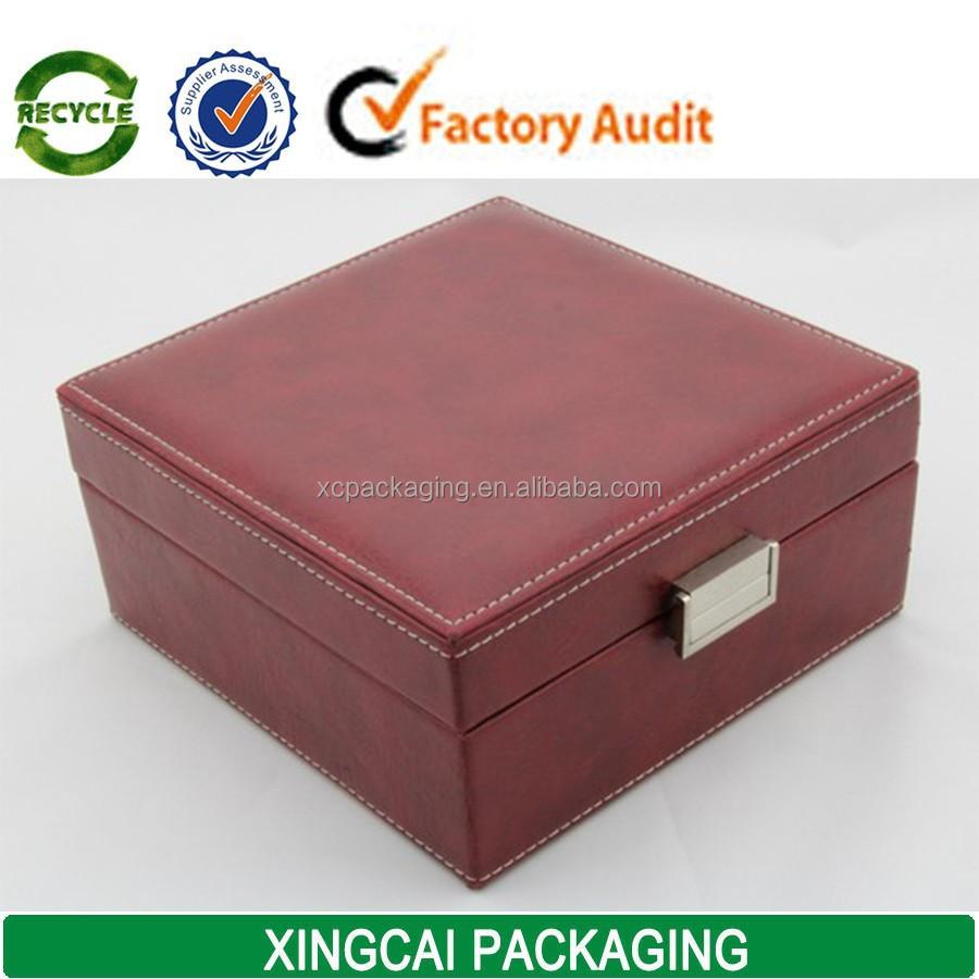 Custom leather jewelry watch box packaging with stitching for Custom jewelry packaging manufacturers