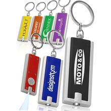 Rectangle Mini Plastic Custom Logo LED Flashlight Keychain