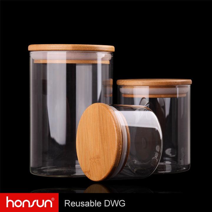 airtight cylinder glass canister 800ml glass kitchen jar