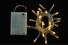 3AA Battery Operated White Wire LED Micro Christmas Lights String Golden LED Color