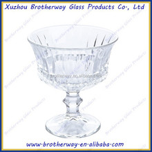 crystal glass ice cream cup with ball stand