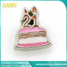 2015 hot selling family celebration 21 year birthday cake floating locket charms
