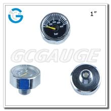 High quality brass chromed body spiral tube mini air pump pressure gage