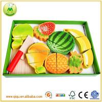 Children educational fruit cutting games wooden kitchen toy