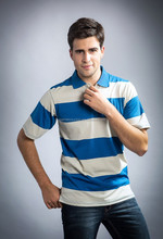 High quality 100% cotton striped polo shirt for men