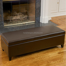 Decorative bonded leather storage long bench OT -779