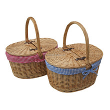 Deluxe Antique Wash 2 Person Wicker Willow Picnic Basket Dinnerware Set