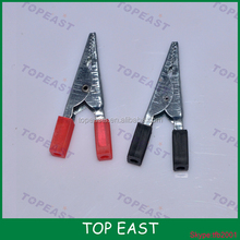 Black /Red Nonslip Grip Insulated Test Lead Crocodile Alligator Clips