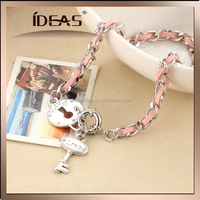 long design pink leather wrapped hand chain with love key lock pendant