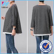 Yihao Womens Iace Hem Striped T-shirt Tops Long Sleeve Casual Blouse Fashion