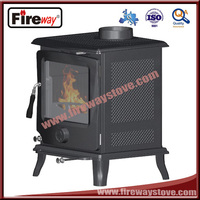 Mini cast iron fireplace with secondary combustion