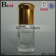 3ml/5ml golden cap roll on perfume bottle for cosmetics, refillable perfume bottle roller ball for OEM