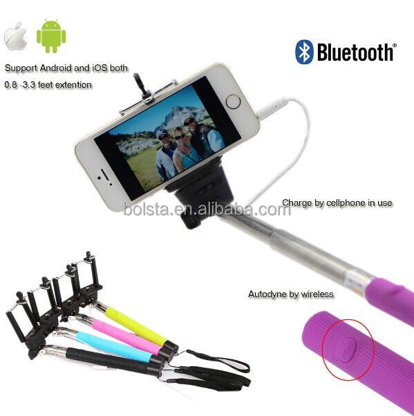 selfie extendable monopod with jack cable and remote button for ios and. Black Bedroom Furniture Sets. Home Design Ideas