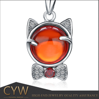 CYW Wholesale 925 cartoon cat silver charm 925 sterling silver necklace pendant