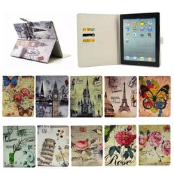 New Arrival Leather Holder Case for iPad 2 3 4 With Credit Card Slot Back