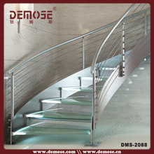 interior spiral/Arc stainless steel glass stair/staircase