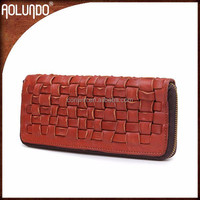 Fashion long reddish brown latest weave leather clutch purse for women