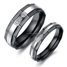 fashion jewelry 2015/tungsten ring fashion black diamond couple ring/ cutting style ring