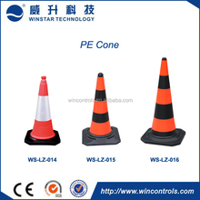 Red traffic cone with reflective for traffic, PE Traffic Cone