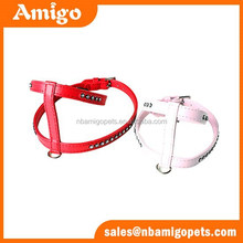 competitive price hot sale H shape with inlaid rhinestone pet products,pu dog harness,dog harness