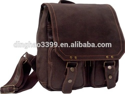 Double zip real leather briefcase leather messenger bag for men