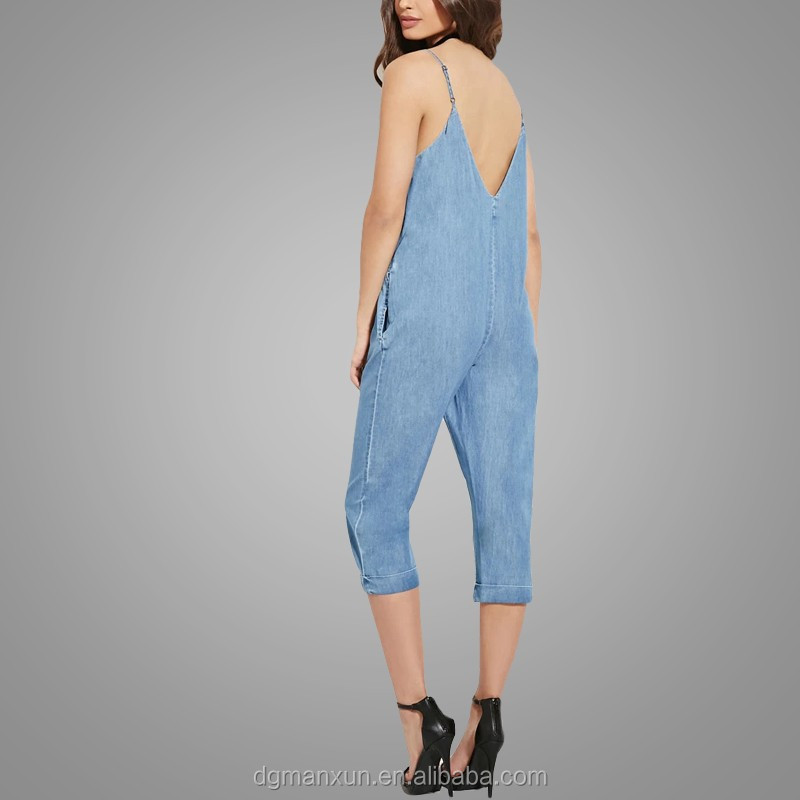 Custom Made Cami Jumpsuit Jeans Casual Loose Chambray Jumpsuit 2016 New Fashion Apparel (4).jpg