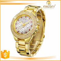 2015 beautiful IP Gold plating thin diamond case and band luxury watch,jewelry watch,ring watch