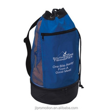 70D nylon Beach Cooler Bag 6 can with mesh back upper compartment with adjustable drawstring and zipper pocket