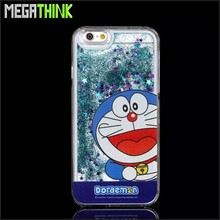 New Arrival for iPhone 5 5S 6 6plus Blue DORAEMON Case Bling Glitter Star Flow Sand Hard Protective Cover