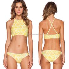 Cool Lemon Pattern printed sexy girl bikinis manufacturer in Guangzhou 2014