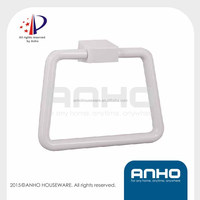 ANHO Patent Plastic white towel ring, rectangle shape, wall mounted