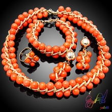 Orange pearl beautiful cherry tomatoes jewelry set nice and cheap party beads jewelry set ladies perfect model jewelry set