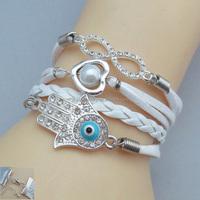 "2014 NEW rendy""hteart""white & black weave rope leather bracelet girl charm with rhinestone FB090"