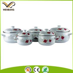 new item flower printed porcelain steel enamel cookware